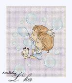 Схема для вышивки крестом Нежные иллюстрации - Мыльные пузыри