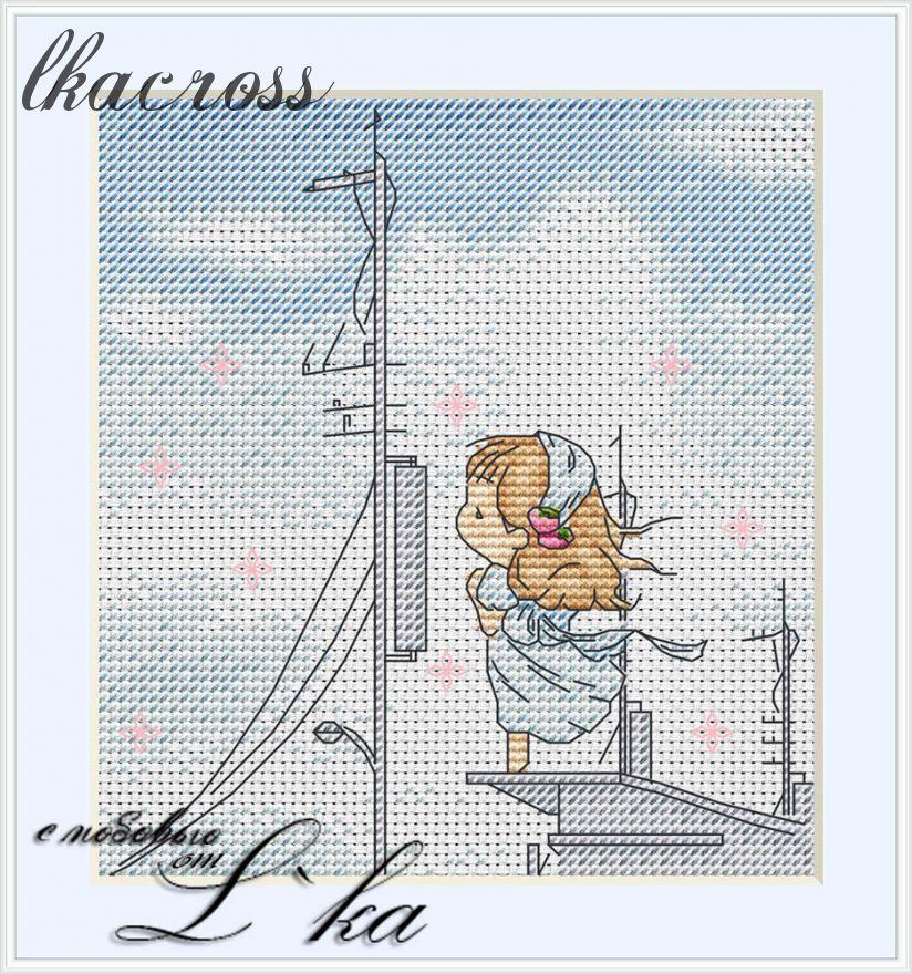 Схема для вышивки крестом Нежные иллюстрации - На пристани