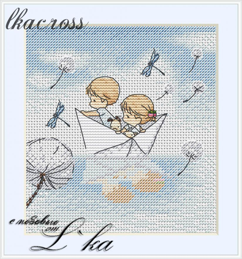 Схема для вышивки крестом Нежные иллюстрации - Бумажный кораблик