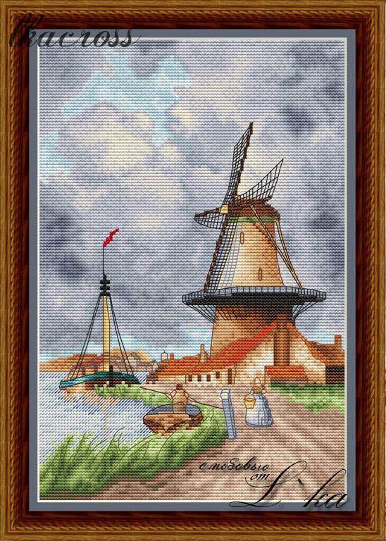 Схема для вышивки крестом Ветряная мельница