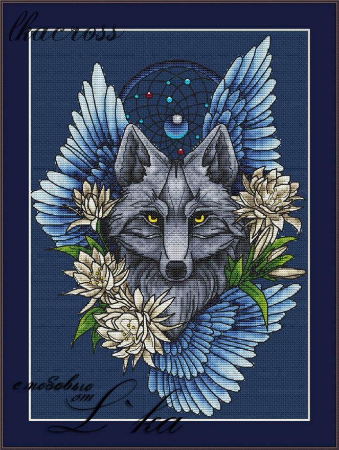 Схема для вышивки крестом Ловец снов - Волк1