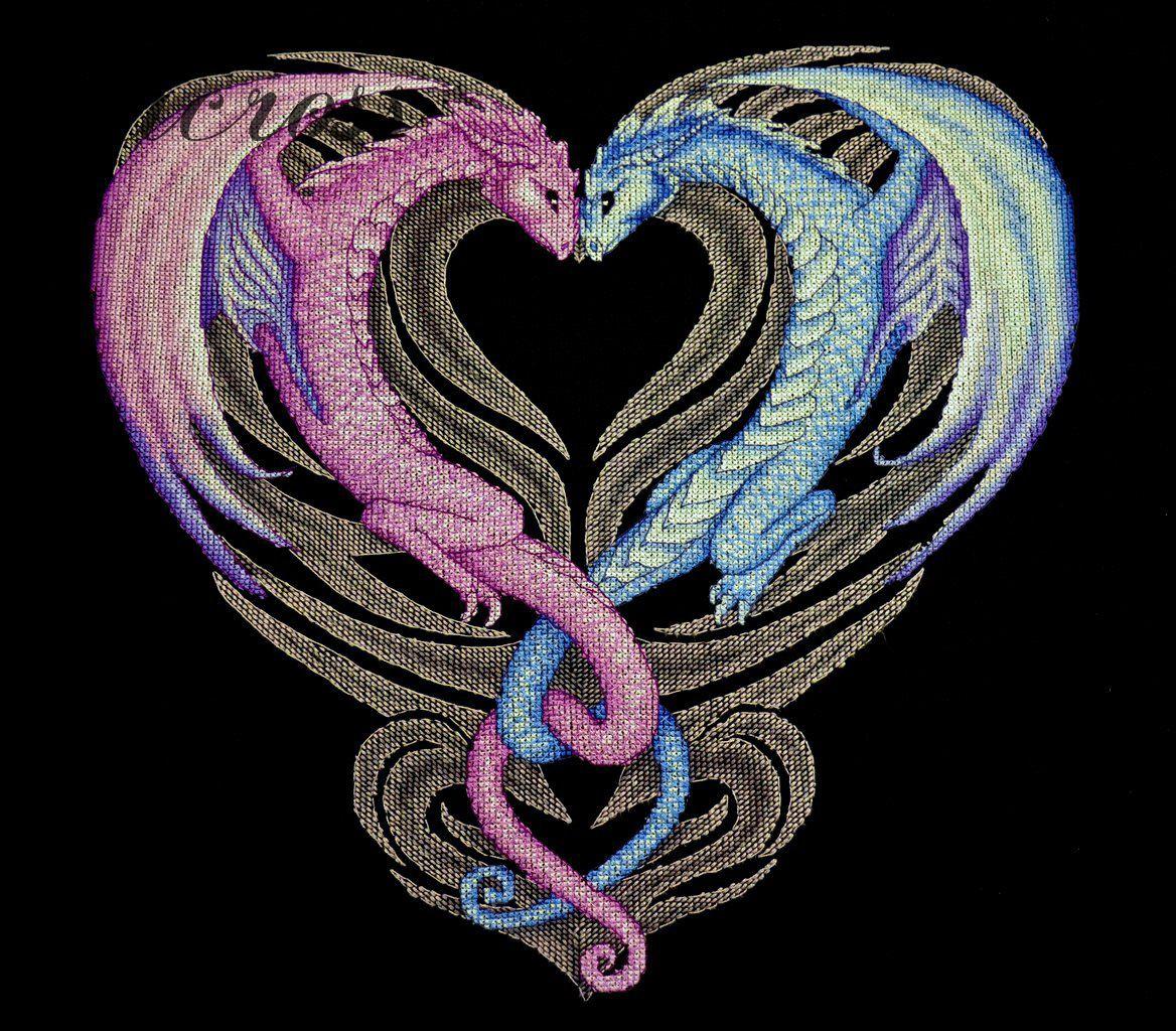 Схема вышивки Сердце дракона. Отшив.