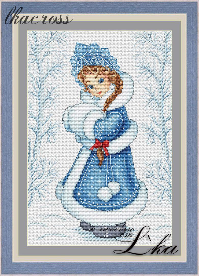 Схема для вышивки крестом Снегурочка.