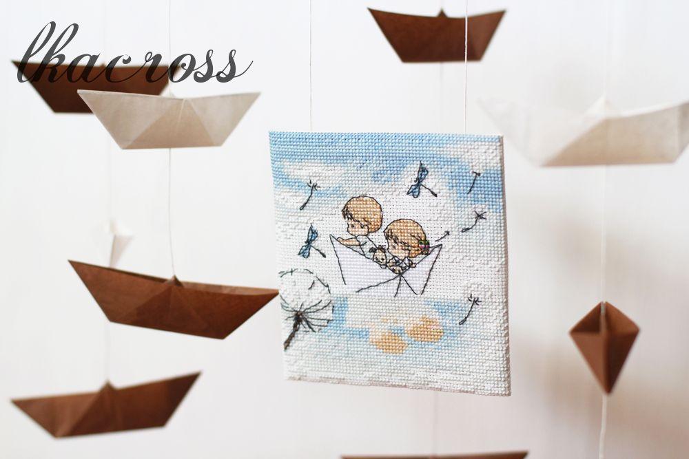 Схема для вышивки крестом Бумажный кораблик - Отшив.