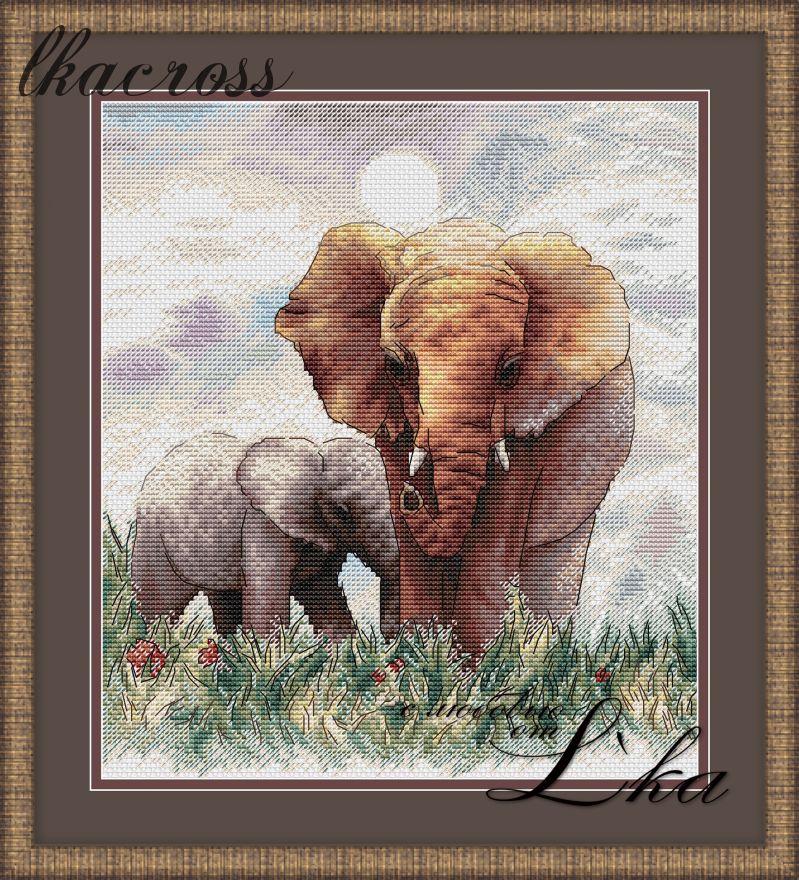 Схема для вышивки крестом Слоны